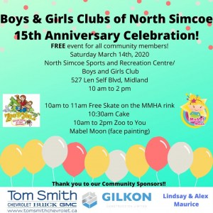 Boys & Girls Clubs of North Simcoe 15th Anniversary Celebration! @ North Simcoe Sports and Recreation Centre/ Boys and Girls Club