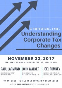 A Professional Panel: Understanding Corporate Tax Changes @ Midland Cultural Centre, Rotary Hall  | Midland | Ontario | Canada